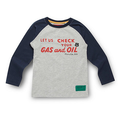 Route 66 - Boy+s grey raglan sleeve +Gas+ t-shirt
