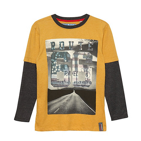 Route 66 - Boy+s dark yellow graphic logo t-shirt