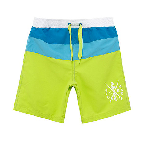 bluezoo - Boy+s lime colour block strip swim shorts