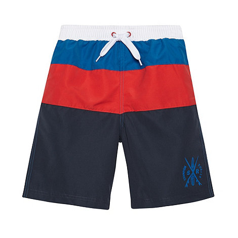 bluezoo - Boy+s navy cut and sew striped swim shorts