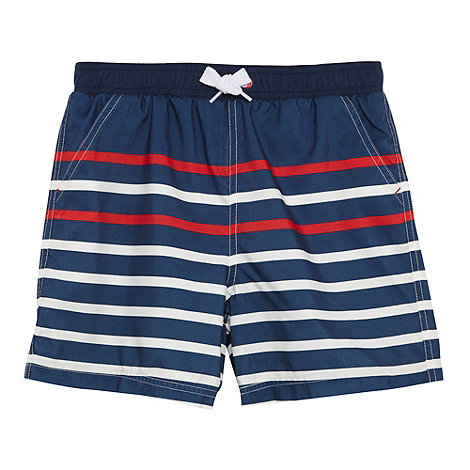 bluezoo - Boy+s navy striped swim shorts