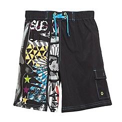 bluezoo - Boy's dark grey urban shark print swim shorts