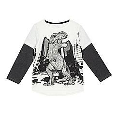 bluezoo - Boys' white dinosaur print mock sleeve t-shirt