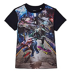 bluezoo - Boys' navy dinosaur space print t-shirt