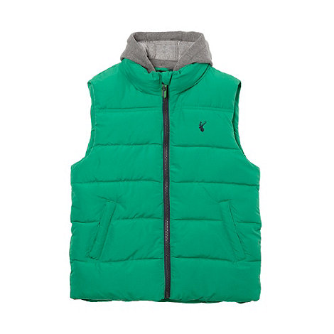 bluezoo - Boy+s green padded detachable hooded gilet