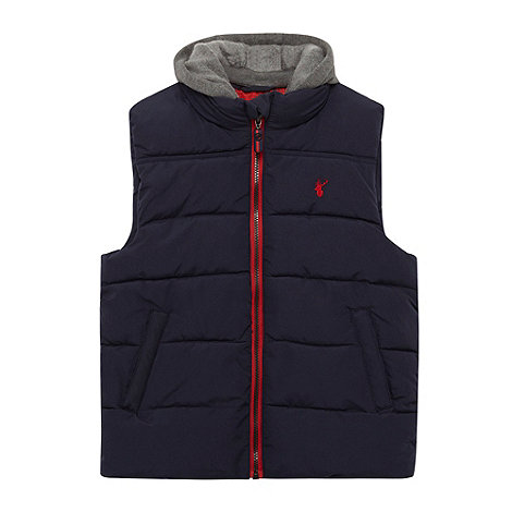 bluezoo - Boy+s navy padded detachable hooded gilet