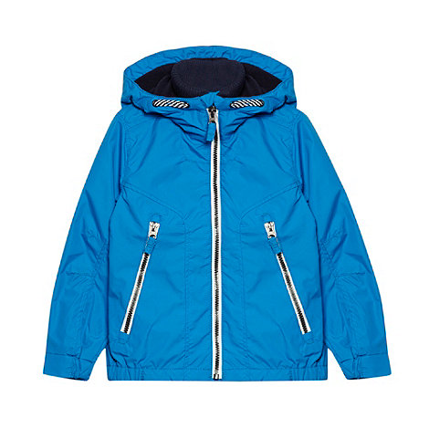 bluezoo - Boy+s blue fleece lined hooded jacket