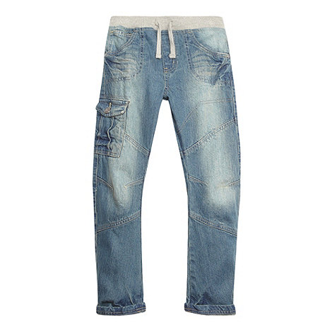 bluezoo - Boy+s blue faded ribbed waist jeans