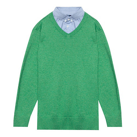 bluezoo - Boy+s green V neck check mock collar jumper