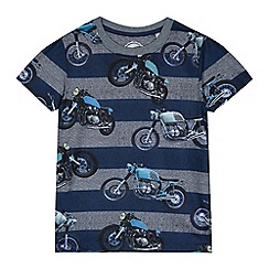 bluezoo - Boys' navy striped motorbike print t-shirt