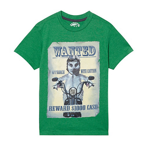 bluezoo - Boy+s green +Wanted Meerkat+ t-shirt