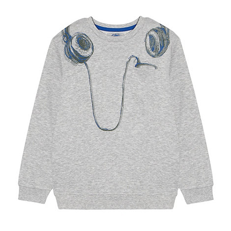 bluezoo - Boy+s grey headphones printed sweat top