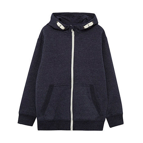 bluezoo - Boy+s navy zip through hoodie