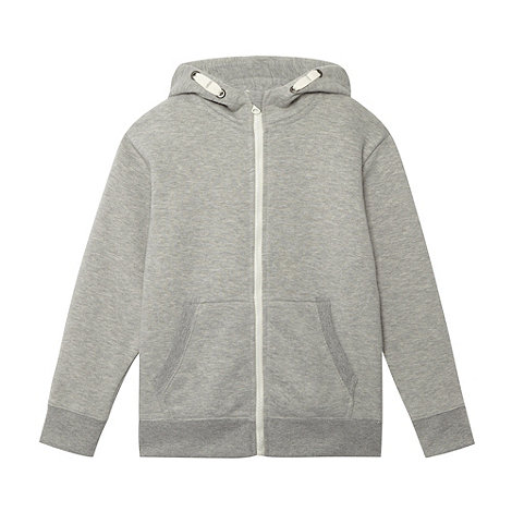bluezoo - Boy+s grey zip through sweat hoodie