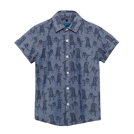 bluezoo - Boy+s blue chambray dinosaur shirt
