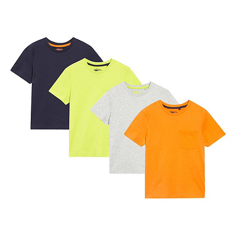 bluezoo - Boy+s pack of four navy orange green and grey t-shirts