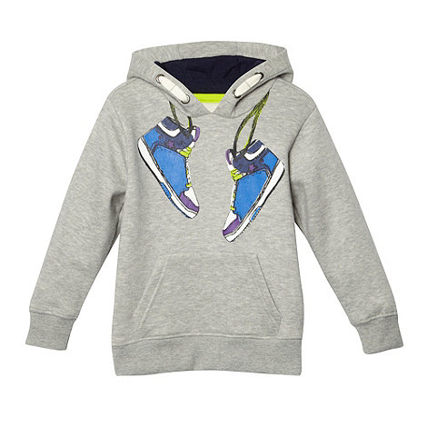 bluezoo - Boy+s grey trainer print hoodie
