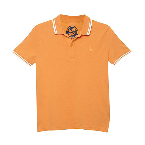 bluezoo - Boy+s orange twin tipped pique polo shirt