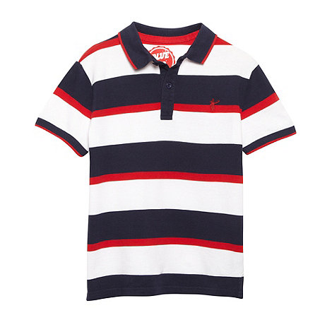 bluezoo - Boy+s navy striped pique polo shirt