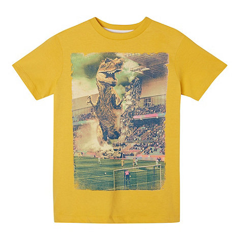 bluezoo - Boy+s yellow dinosaur stadium print t-shirt