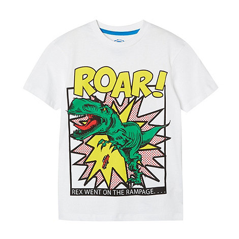 bluezoo - Boy+s white dinosaur printed t-shirt