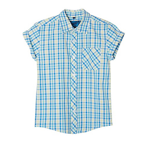 bluezoo - Boy+s blue small gingham checked shirt
