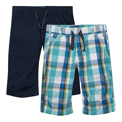 bluezoo - Boy+s pack of two navy and blue checked woven shorts