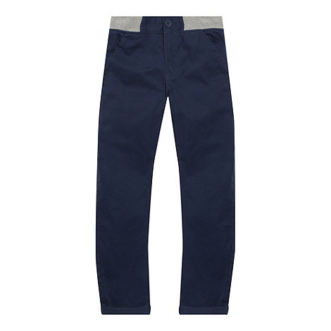 bluezoo - Boy+s navy ribbed waistband carrot leg chinos