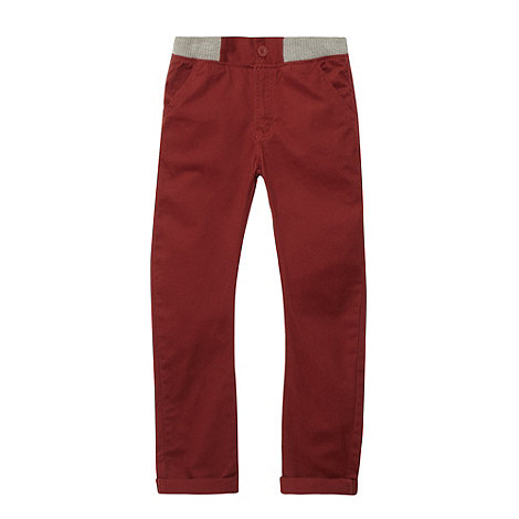 bluezoo - Boy+s dark red ribbed waistband carrot leg chinos