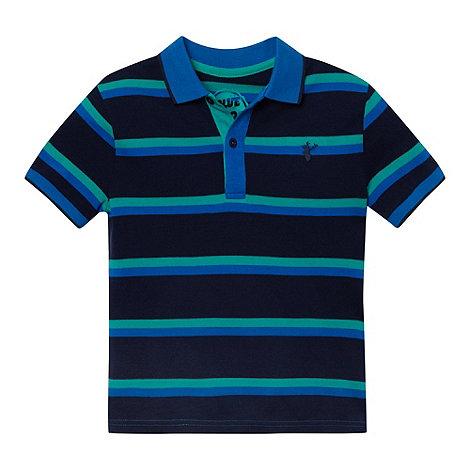 bluezoo - Boy+s navy striped pique polo shirt