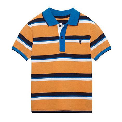 bluezoo - Boy+s orange multi striped polo shirt