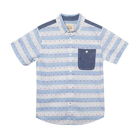 Silver Eight - Boy+s blue striped and spotted chambray trim shirt