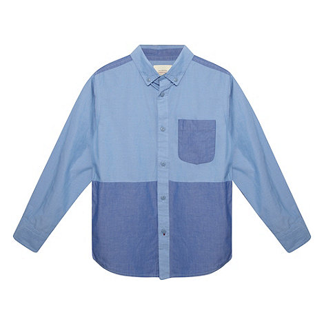 Silver Eight - Boy+s blue cut and sew chambray shirt