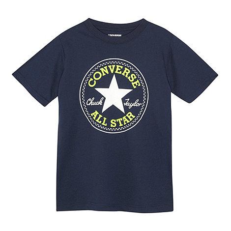 Converse - Boy+s navy patch logo print t-shirt