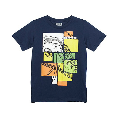 Converse - Boy+s navy square shoes t-shirt