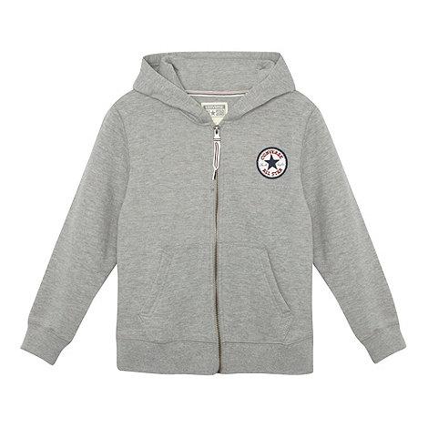 Converse - Boy+s grey patch logo zip through sweat hoodie
