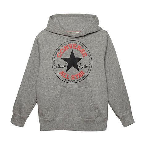 Converse - Boy+s grey patch logo sweat hoodie