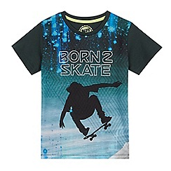 bluezoo - Boys' dark green skater print t-shirt