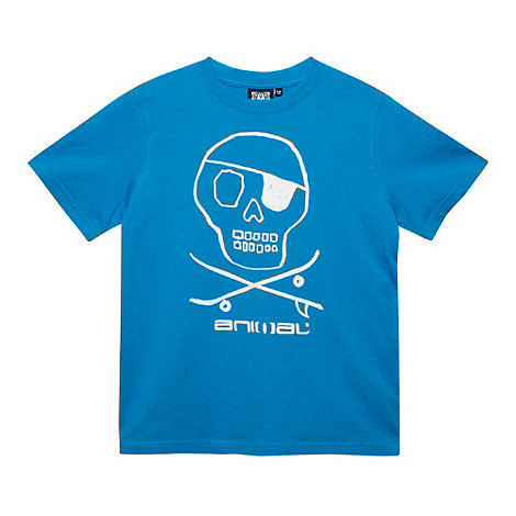 Animal - Boy+s blue printed skull logo t-shirt