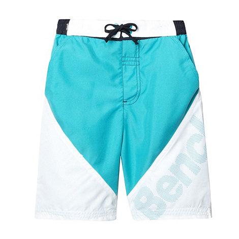 Bench - Boy+s turquoise diagonal logo swim shorts