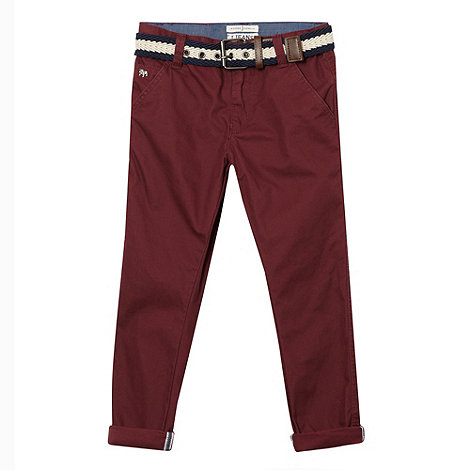 J by Jasper Conran - Designer boy+s wine belted chino trousers