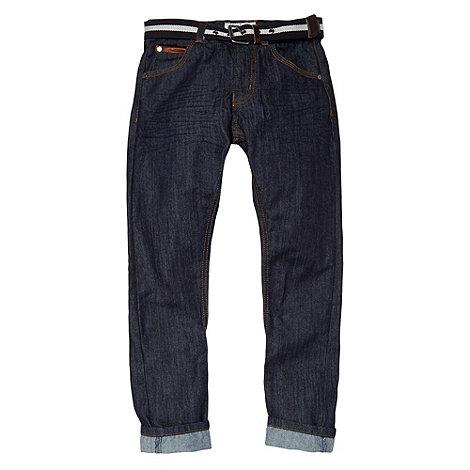 J by Jasper Conran - Designer boy+s blue PU trim belted jeans