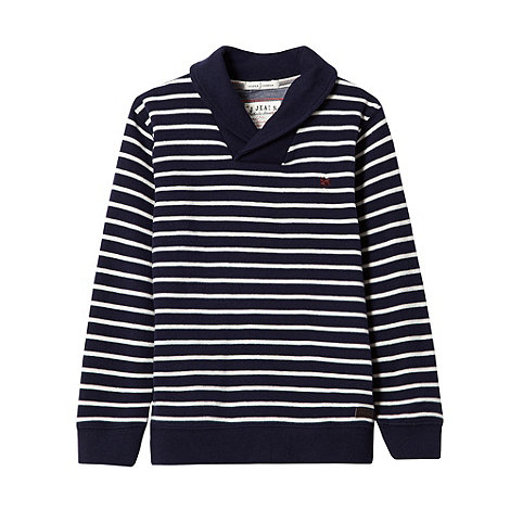 J by Jasper Conran - Designer boy+s navy striped shawl neck sweat top