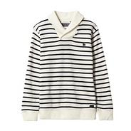 Designer boy's white striped shawl neck sweat top