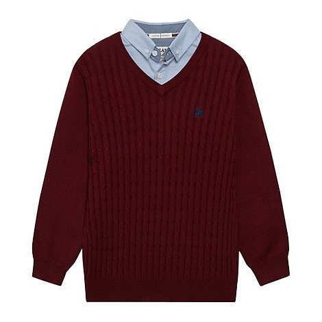 J by Jasper Conran - Designer boy's wine cable knit mock shirt collar jumper