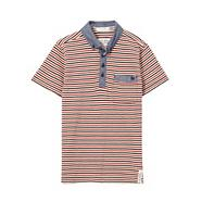 Designer boy's navy striped pique polo shirt