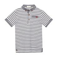 Designer white double striped polo shirt