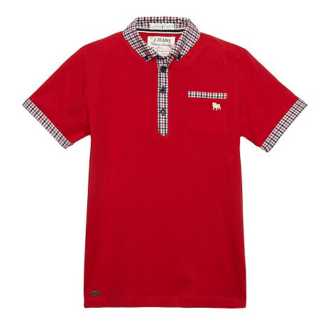 J by Jasper Conran - Designer boy+s red checked polo shirt