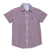 Designer boy's navy gingham checked shirt