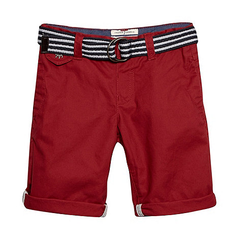 J by Jasper Conran - Designer boy+s red slim belted chino shorts